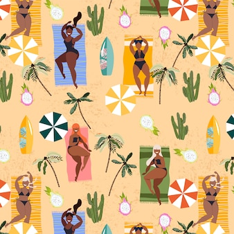 Girls laying on towels summer pattern. seamless hand-drawn pattern design for textile, web banner. summer vacation concept. pretty girls sunbathing at the beach, palms and umbrellas.