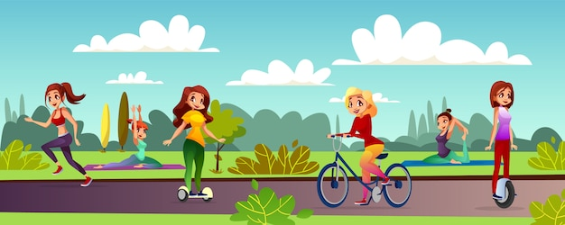 Girls leisure illustration of young women recreation in outdoor park.
