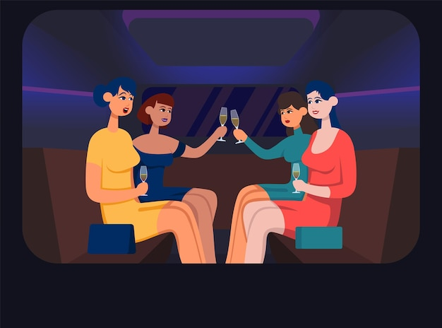 Girls in limousine drink champagne. flat cartoon vector color illustration.