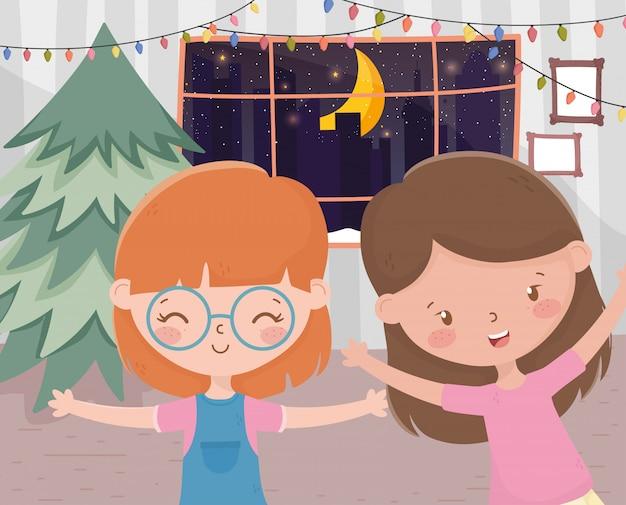 Girls living room tree lights window night celebration merry christmas