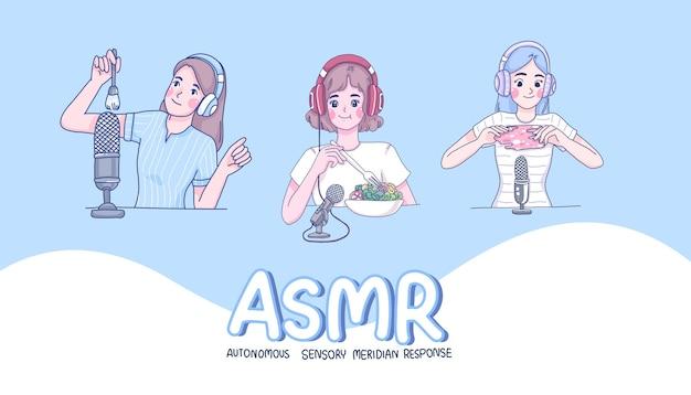 소녀들은 asmr 만화 캐릭터를 만듭니다.