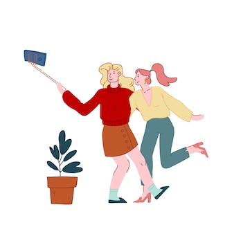 Girls making selfie on smartphone