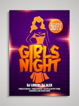 Girls night party template, dance party flyer, night party banner or club invitation presentation with details.