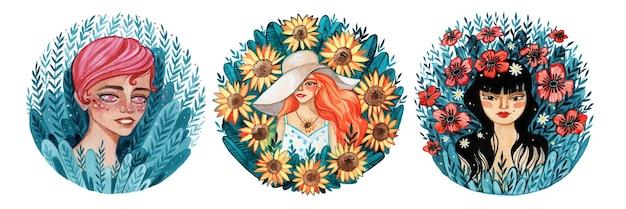 꽃, 아름다움 개념에 수채화로 그린 다른 국적의 소녀