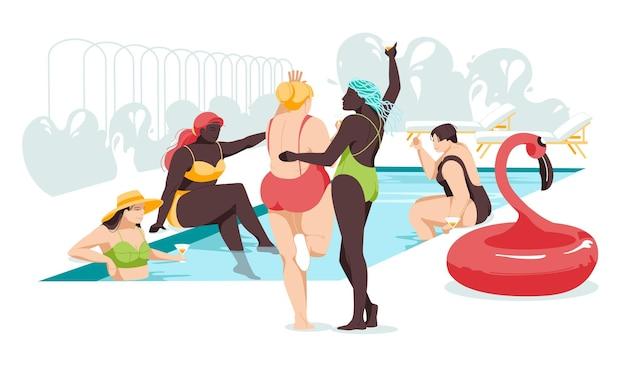 さまざまな人種や体格の女の子がプールで一緒にリラックスします。女性の友情と関係。平らな。ボディポジティブ