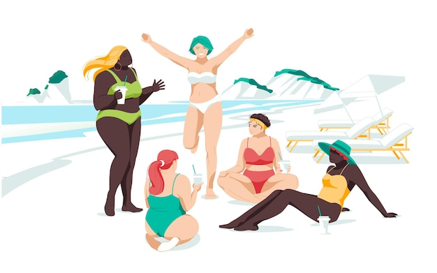 さまざまな人種や体格の女の子が海岸で一緒にリラックスします。女性の友情と関係。フラ