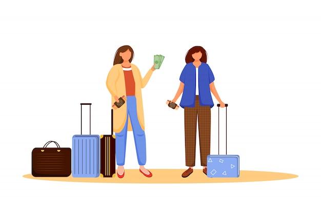 Девушки пакуют иллюстрацию багажа плоскую. готовимся к поездке, вояжу. друзья с чемоданами. собираюсь в отпуск. подготовка к путешествию изолированных мультипликационный персонаж на белом фоне