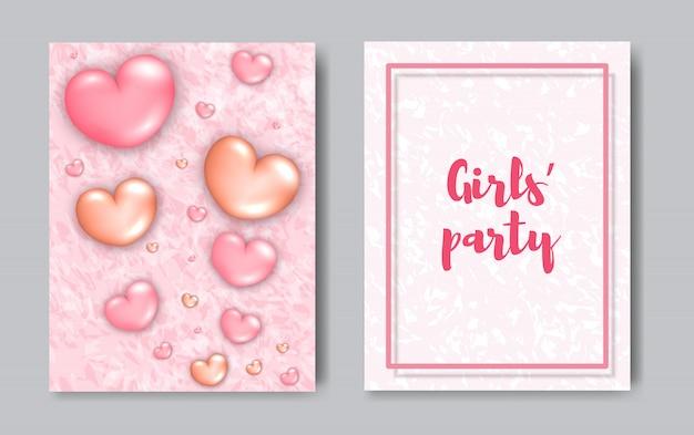 Girls party modern trendy flyer concept