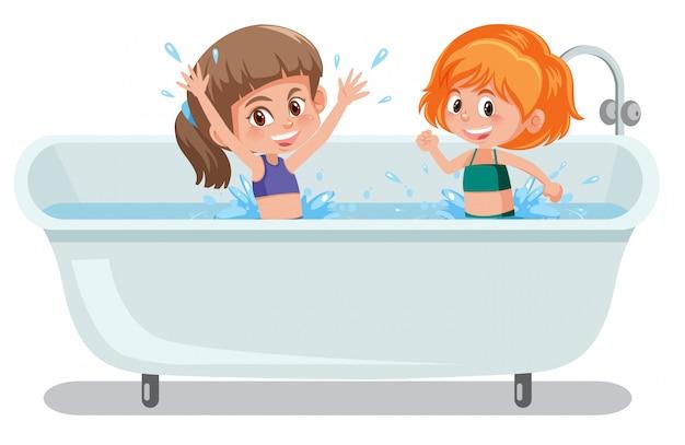 Girls playing in bathtub