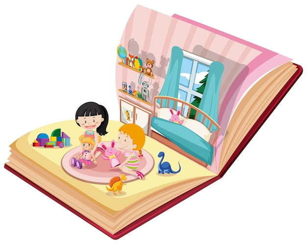 Girls playing in bedroom on the book