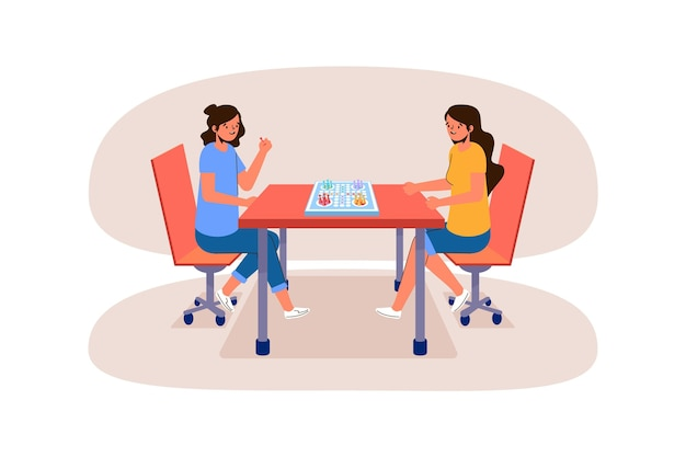 Girls playing ludo game