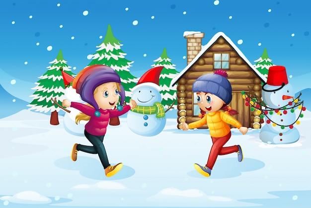 Girls playing in snow field
