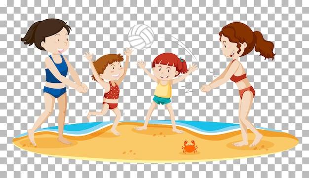 Ragazze che giocano a pallavolo in spiaggia