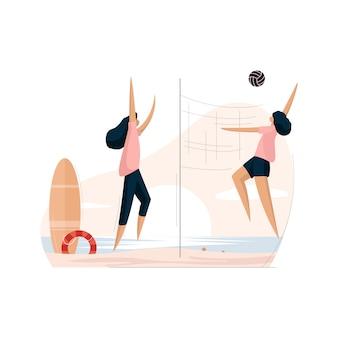 Девушки играют в волейбол на летнем пляже