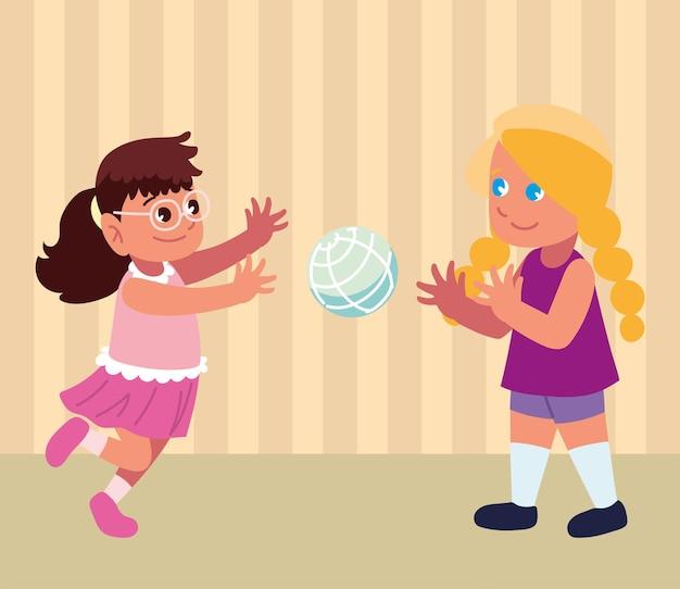 Девочки играют с мячом мультфильм
