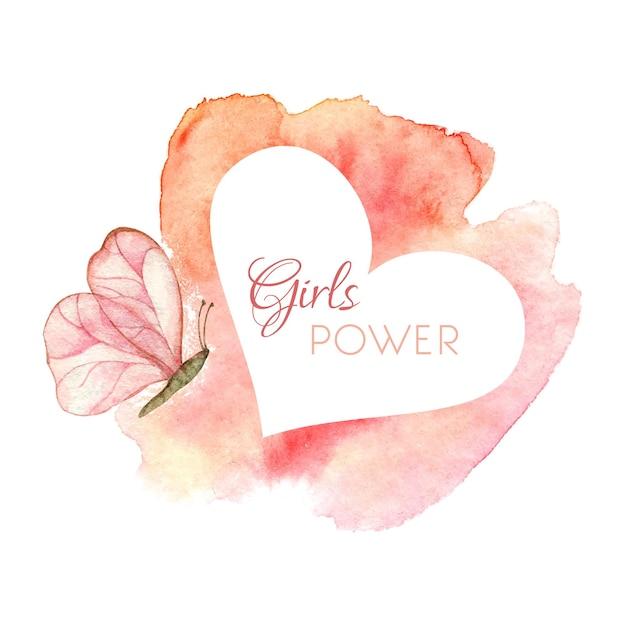 Сила девочек концепт-арт осведомленности о раке груди акварельные иллюстрации с розовой бабочкой