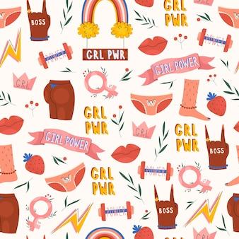 Шаблон власти для девочек с женскими элементами в стиле рисованной
