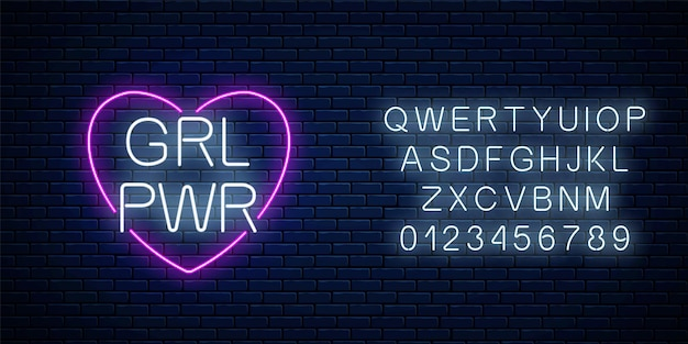 Girls power sign in neon style with alphabet. glowing symbol of female slogan in heart shape. women rights.
