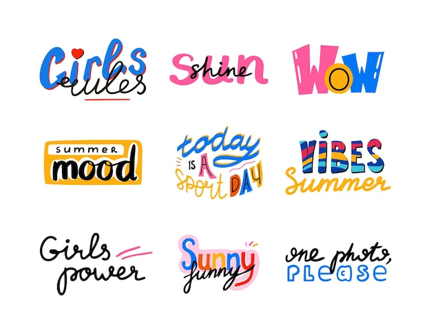 Girls power and summer set of hand drawn quotes. wow, summer vibes, sunshine and others phrases