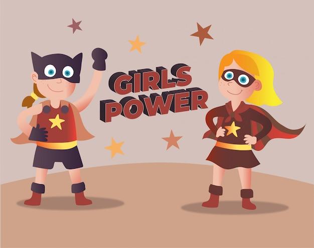 ガールズパワースーパーヒーローのビンテージデザイン