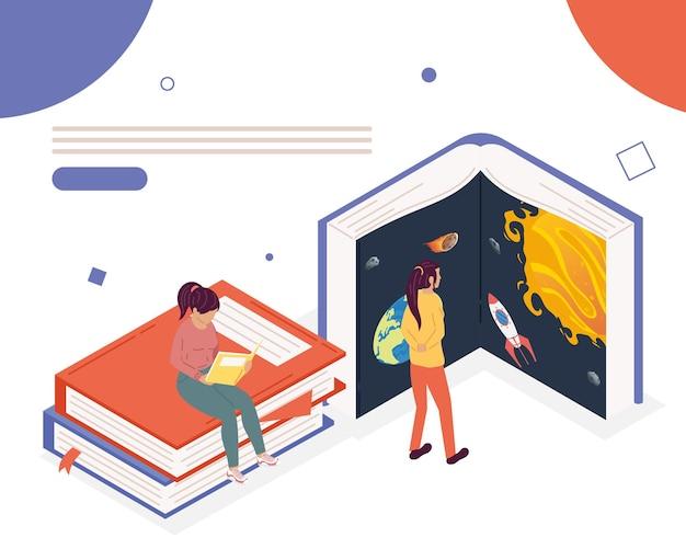 Девушки читают книги с обратной темой, дизайн иллюстрации празднования дня книги
