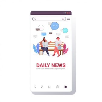 Girls reading newspaper discussing daily news during meeting in park chat bubble communication concept. smartphone screen full length copy space illustration