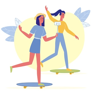 Girls ride skateboards flat vector illustration