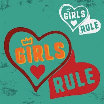 티셔츠 인쇄 스탬프, 티 아플리케, 패션 슬로건, 배지, 라벨 의류, 청바지 또는 기타 인쇄 제품에 대한 girls rule 슬로건. 벡터 일러스트 레이 션.