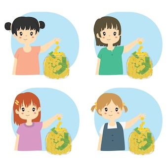 Girls saving money in a glass jar vector set