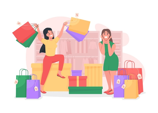 Girls shopping flat concept illustration. sell clothes with discount. special offer for customers. shopaholics 2d cartoon characters for web design. seasonal sale in boutique creative idea