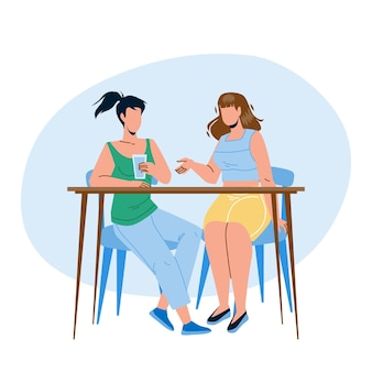 Girls sitting at table and talking together vector. young women drink water and talking, gossip or business meeting. characters ladies friendship or partnership flat cartoon illustration