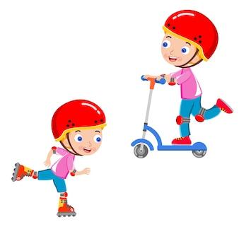 Girls skating scooter helmet vector