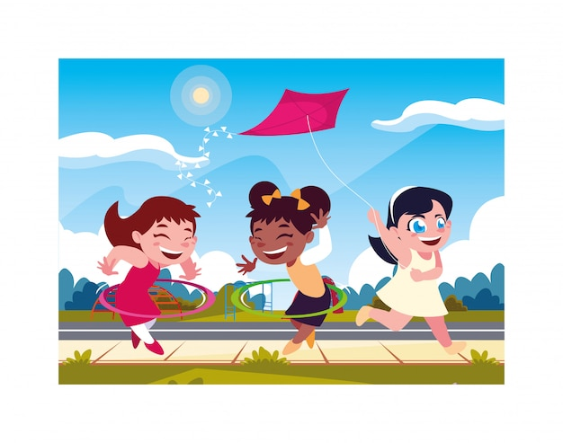 Girls smiling and playing with a kite