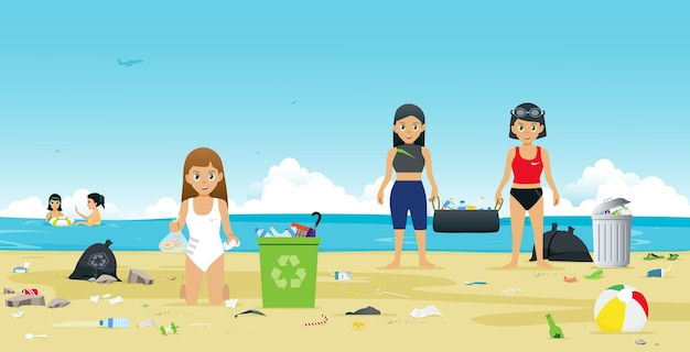 Girls in swimsuit are helping to collect garbage on the beach
