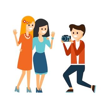 Girls taking photo illustration