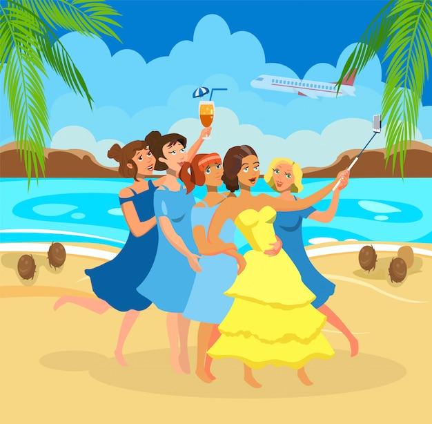 Girls taking selfie on beach vector illustration.