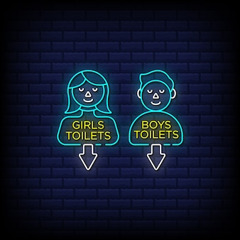 Girls toilets and boys toilets neon signs style text - public toilet identity icon