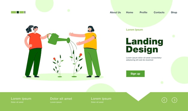 Girls watering small idea tree landing page in flat style