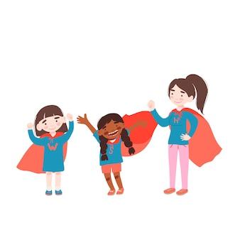 女の子はスーパーヒーローの衣装を着ています Premiumベクター