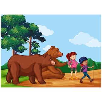 Девушки с медведями дизайн фона