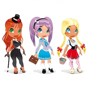 Girls with costumes design