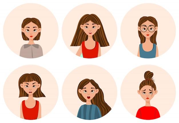 Девушки с разными выражениями лица и эмоциями. мультяшный стиль. иллюстрации.