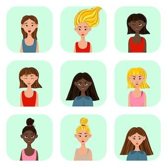 다른 표정과 감정을 가진 소녀들. 만화 스타일입니다. 벡터 일러스트 레이 션.