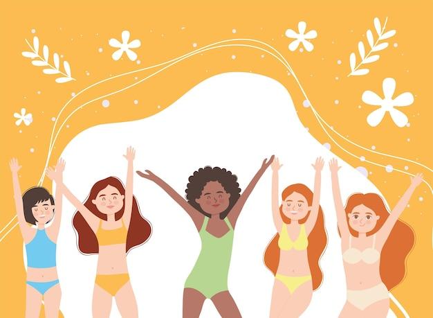 Girls with flowers on orange background