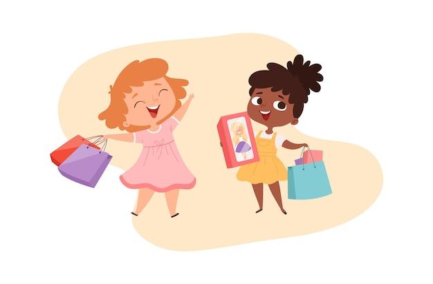 贈り物を持つ女の子。ボックスとバッグで幸せな小さなお姫様。かわいい漫画のアフロアメリカンベビーショッピングキャラクター。国際的な友情、子供たちの友達のベクトルイラスト。幸せな子供の女の子の買い物客
