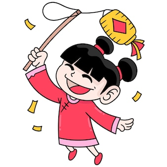 Girls with happy expressions celebrate chinese new year, doodle draw kawaii. vector illustration art