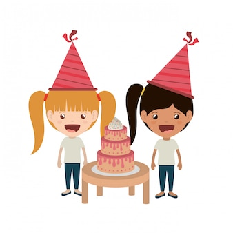 Girls with party hat in birthday celebration