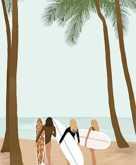 Girls with a surfboard against the background of the sea and palm trees.