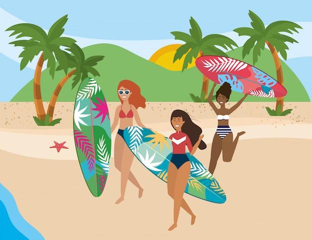 Girls with swim wear