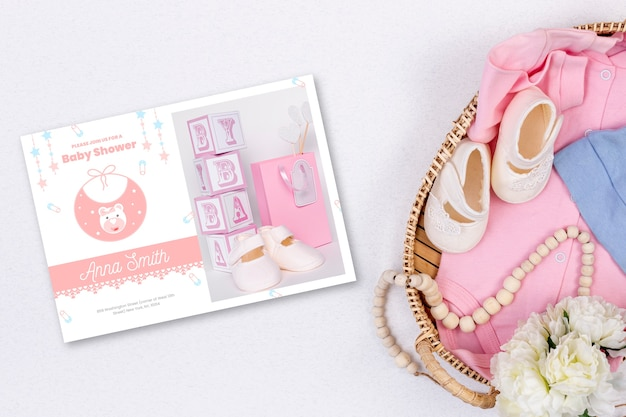 Girly baby shower invitation with photo